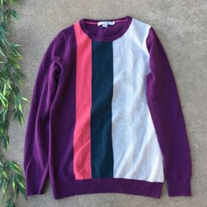 Boden Striped Color Block Cashmere Sweater